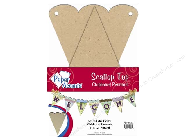 Paper Accents Chipboard Pennants 8 x 12 in. Scallop Top 7 pc. Kraft