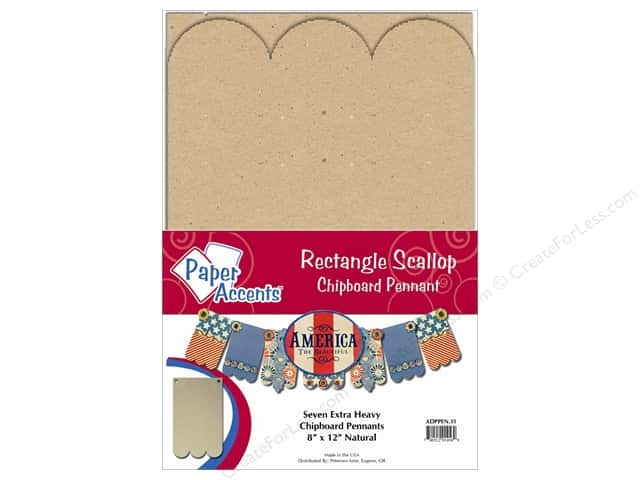 Paper Accents Chipboard Pennants 8 x 12 in. Scallop Rectangle 7 pc. Kraft