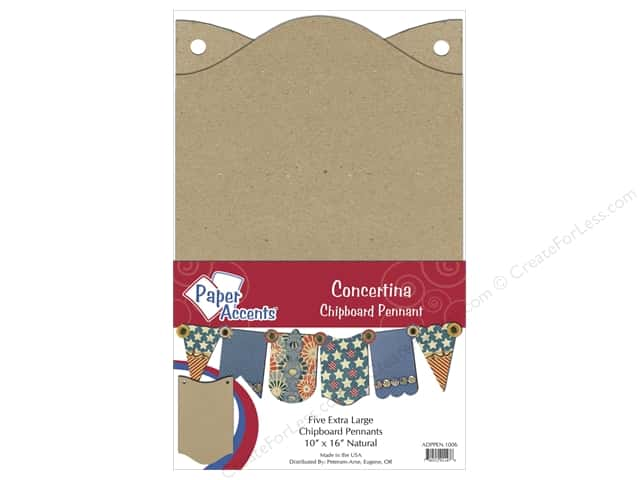 Paper Accents Chipboard Pennants 10 x16 in. Concertina 5 pc. Kraft