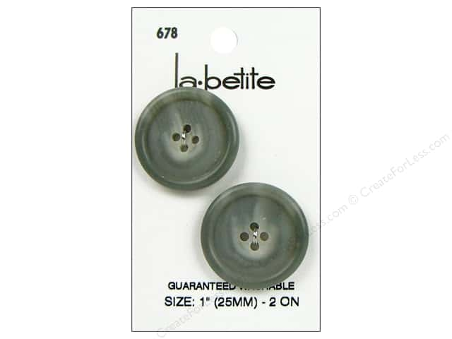 LaPetite 4 Hole Buttons 1 in. Grey #678 2pc.