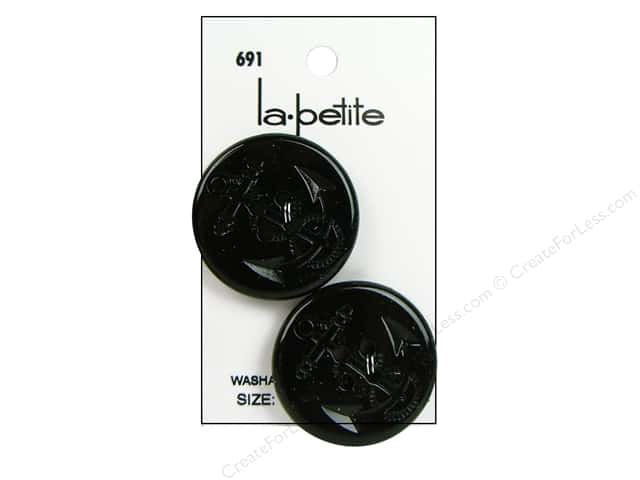 LaPetite 4 Hole Buttons 1 1/4 in. Black #691 2pc.