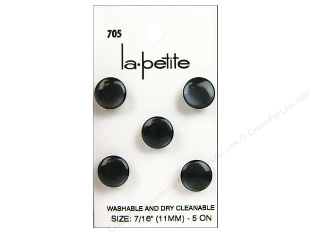 LaPetite Shank Buttons 7/16 in. Black #705 5pc.