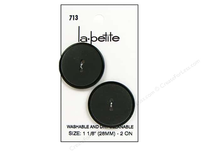 LaPetite 2 Hole Buttons 1 1/8 in. Black #713 2pc.