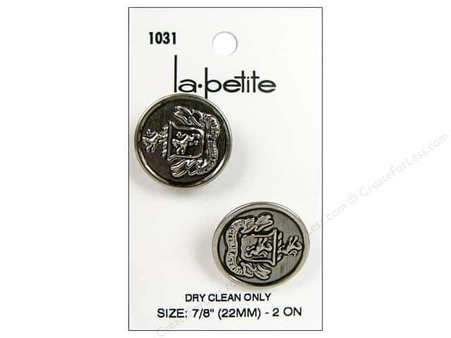 LaPetite Shank Buttons 7/8 in. Antique Silver with Crest #1031 2pc.