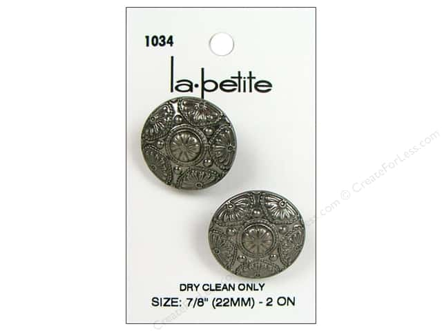 LaPetite Shank Buttons 7/8 in. Antique Silver #1034 2pc.