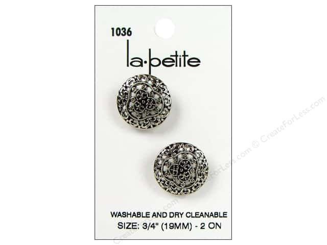 LaPetite Shank Buttons 3/4 in. Antique Silver #1036 2pc.