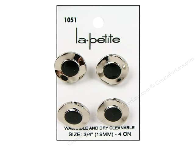 LaPetite Shank Buttons 3/4 in. Silver/Black #1051 4pc.