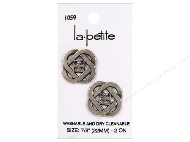 LaPetite 4 Hole Buttons 7/8 in. Antique Silver #1059 2pc.