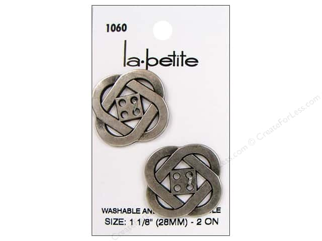 LaPetite 4 Hole Buttons 1 1/8 in.  Antique Silver #1060 2pc.