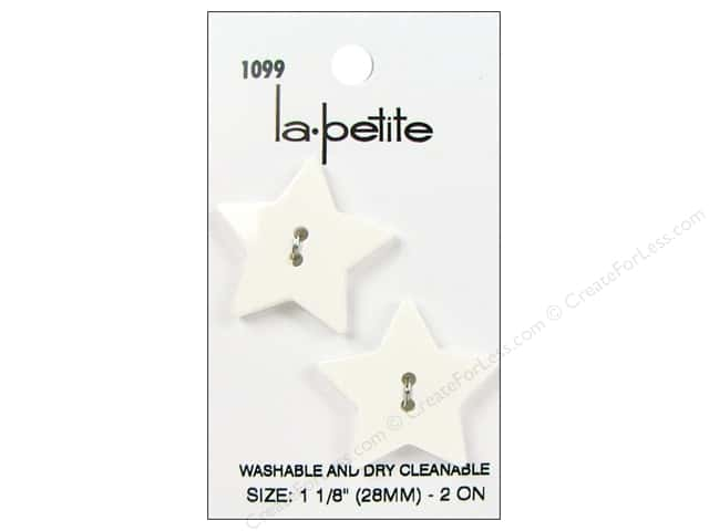LaPetite 2 Hole Buttons 1 1/8 in. White Star #1099 2pc.