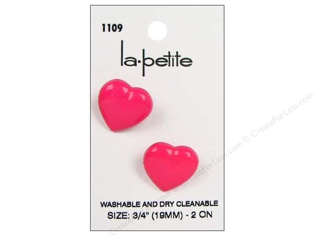 LaPetite Shank Buttons 3/4 in. Pink Heart #1109 2pc.