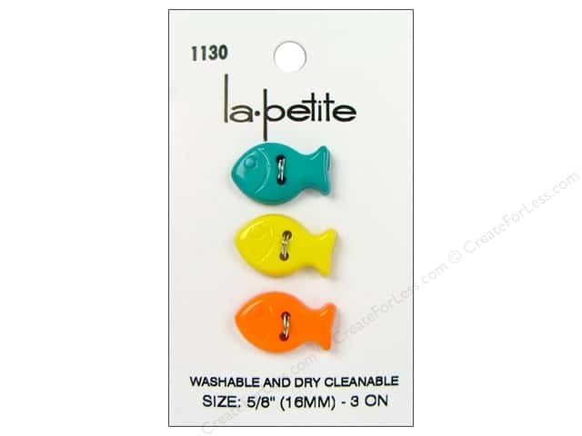 LaPetite 2 Hole Buttons 5/8 in. Fish #1130 3pc.
