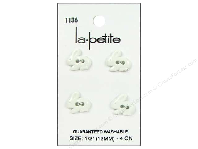LaPetite 2 Hole Buttons 1/2 in. White Bunny #1136 4pc.
