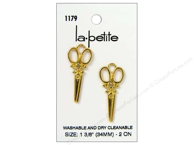 LaPetite Buttons 1 3/8 in. Gold Scissors #1179 2pc.