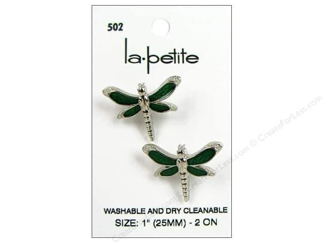 LaPetite Shank Buttons 1 in. Dragonfly Silver/Green #502 2pc.
