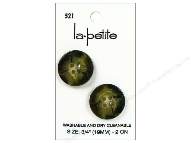 LaPetite 4 Hole Buttons 3/4 in. Olive #521 2pc.