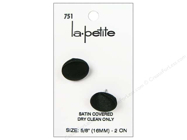 LaPetite Shank Buttons 5/8 in. Black Satin #751 2pc.