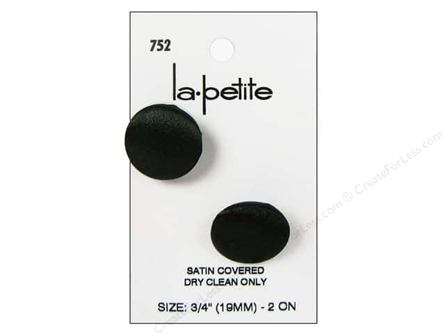 LaPetite Shank Buttons 3/4 in. Black Satin #752 2pc.