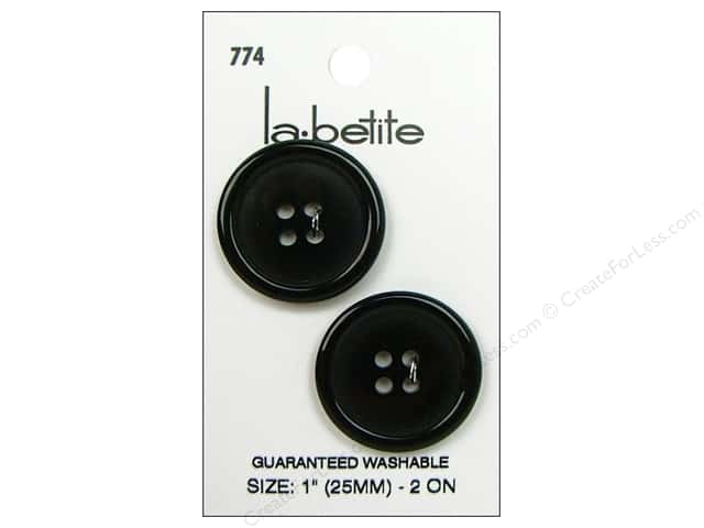 LaPetite 4 Hole Buttons 1 in. Black #774 2pc.
