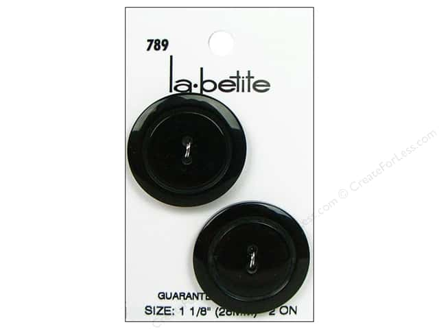 LaPetite 2 Hole Buttons 1 1/8 in. Black #789 2pc.
