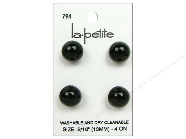 LaPetite Shank Buttons 9/16 in. Black #794 4pc.