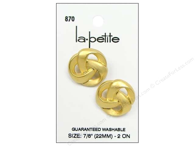 LaPetite Shank Buttons 7/8 in. Matte Gold #870 2pc.