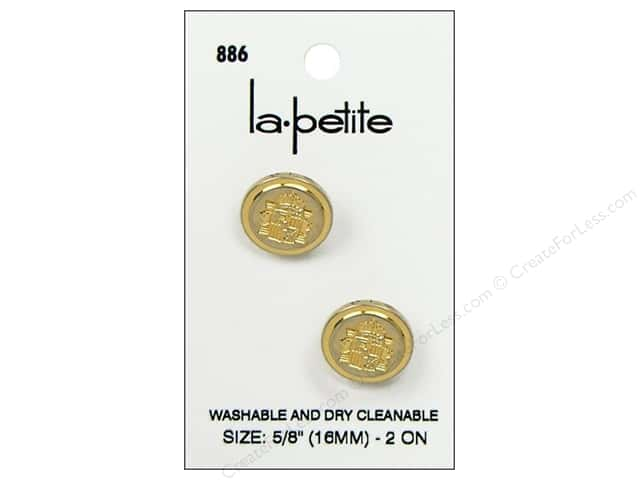 LaPetite Shank Buttons 5/8 in. Gold/Blazer #886 2pc.