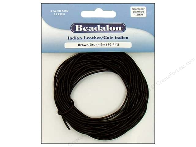 Beadalon Indian Leather Cord 1.5 mm (.059 in.) Brown 5 m (16.4 ft.)