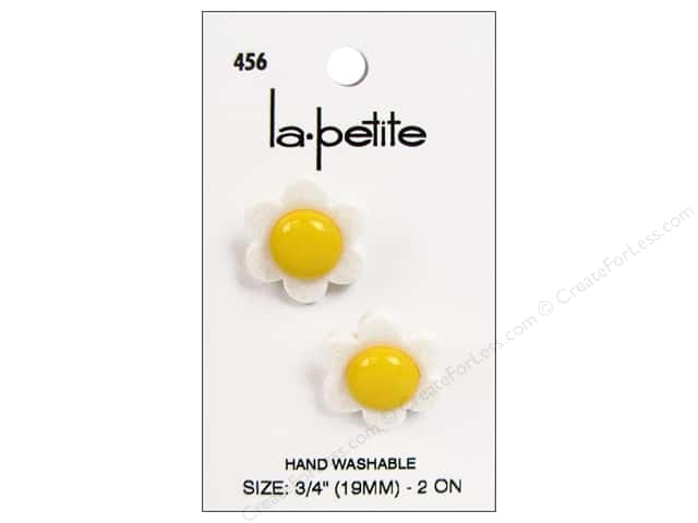 LaPetite Shank Buttons 3/4 in. Flower White/Yellow #546 2pc.