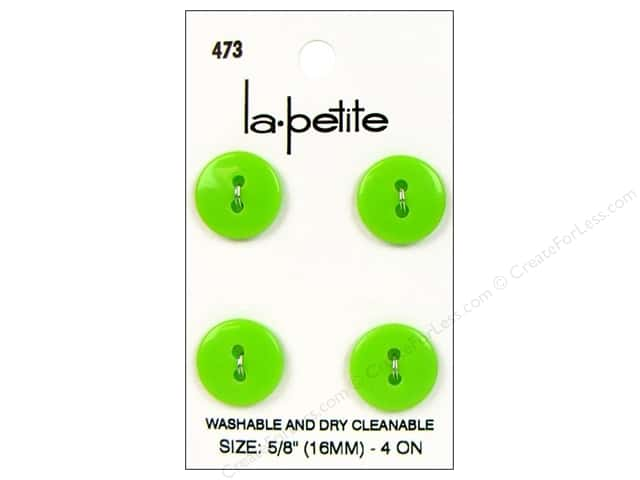 LaPetite 2 Hole Buttons 5/8 in. Lime Green #473 4pc.