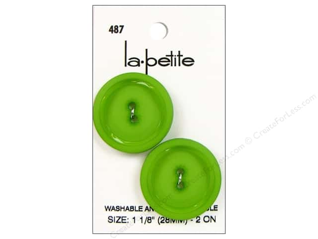 LaPetite 2 Hole Buttons 1 1/8 in. Green #487 2pc.