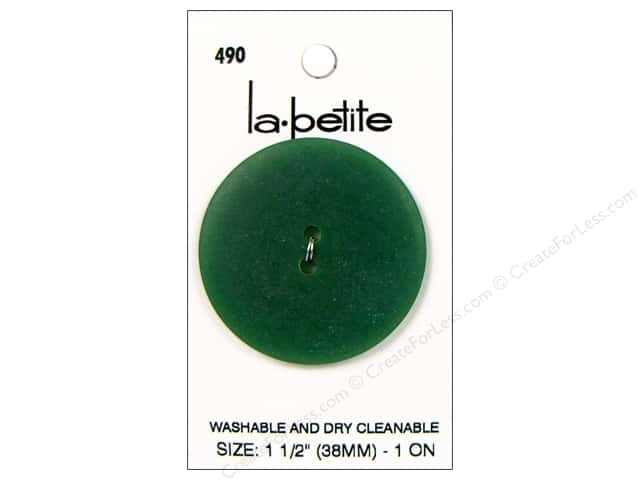 LaPetite 2 Hole Buttons 1 1/2 in. Dark Green #490 1pc.