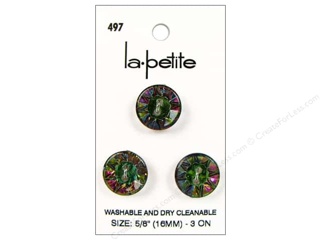 LaPetite 2 Hole Buttons 5/8 in. Iridescent Rainbow #497 3pc.