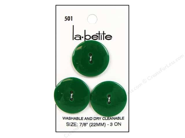 LaPetite 2 Hole Buttons 7/8 in. Kelly Green #501 3 pc.