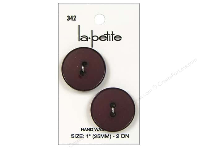 LaPetite 2 Hole Buttons 1 in. Burgundy #342 2pc.
