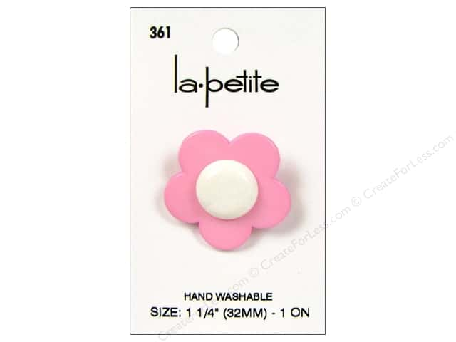 LaPetite Shank Buttons 1 1/4 in. Flower Pink/White #361 1pc.