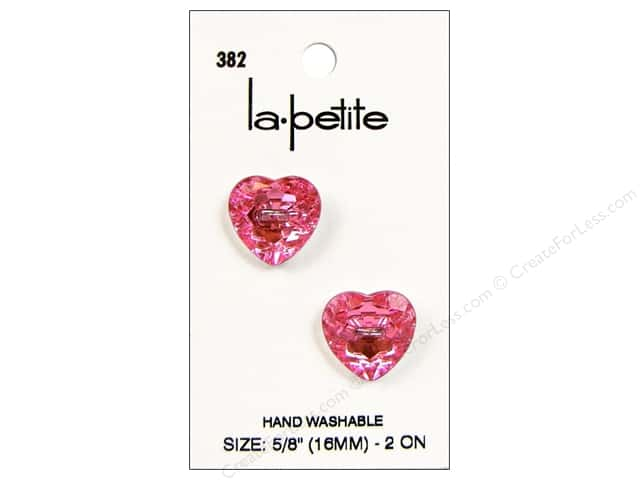 LaPetite 2 Hole Buttons 5/8 in. Pink Heart #382 2pc.