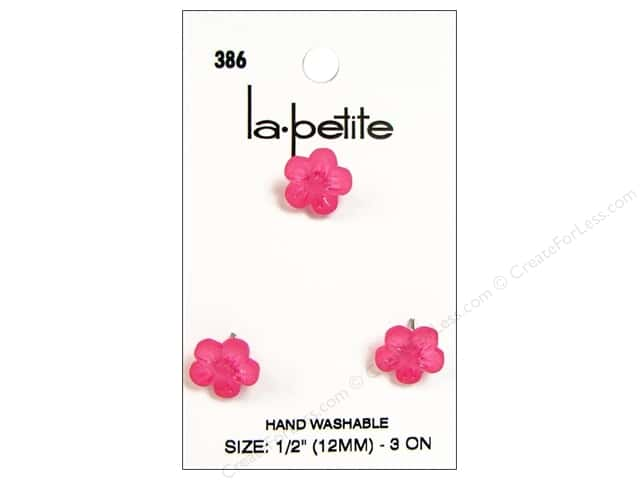 LaPetite Shank Buttons 1/2 in. Fuchsia Flower #386 3pc.