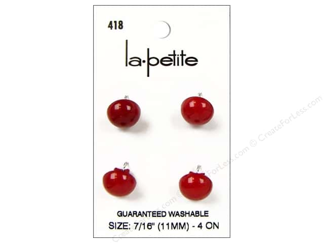 LaPetite Shank Buttons 7/16 in. Red #418 4pc.