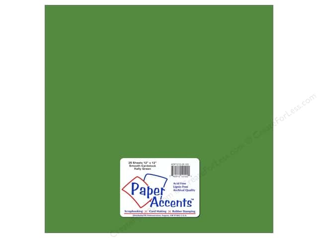 Cardstock 12 x 12 in. #102 Smooth Kelly Green by Paper Accents (25 sheets)