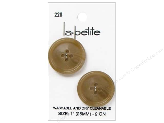 LaPetite 4 Hole Buttons 1 in. Tan #228 2pc.