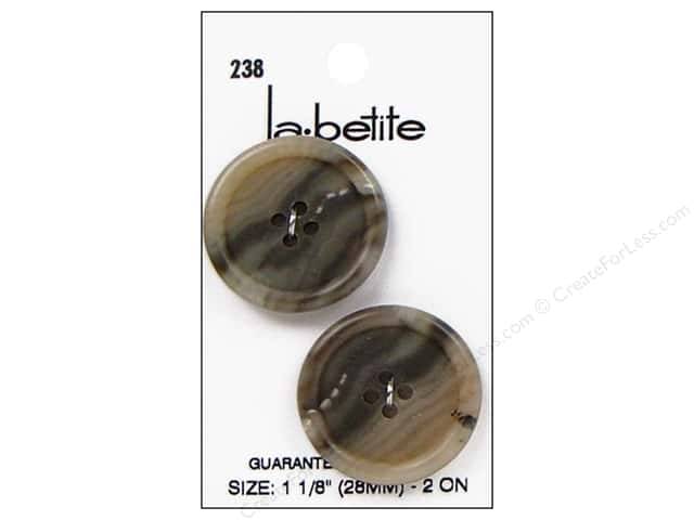 LaPetite 4 Hole Buttons 1 1/8 in. Mottled Tan/Beige #238 2pc.