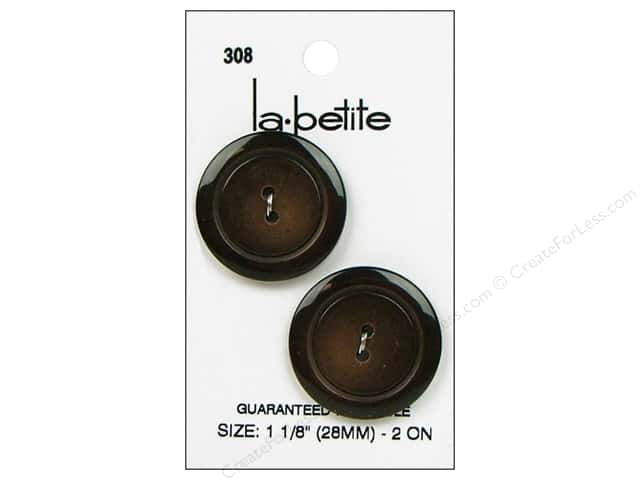 LaPetite 2 Hole Buttons 1 1/8 in. Brown #308 2pc.