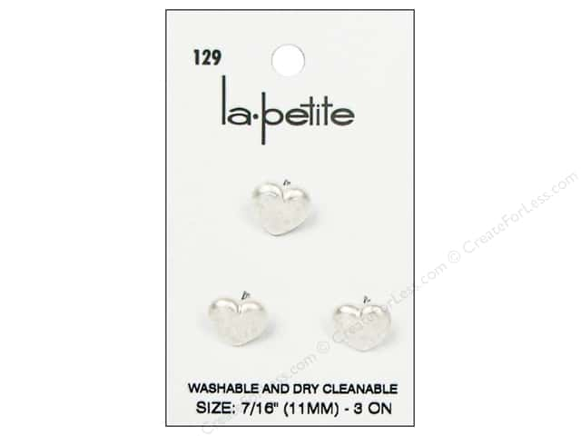LaPetite Shank Buttons 7/16 in. White Heart  #129 3pc.