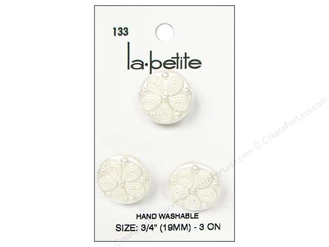 LaPetite Shank Buttons 3/4 in. Pearlized White #133 3pc.