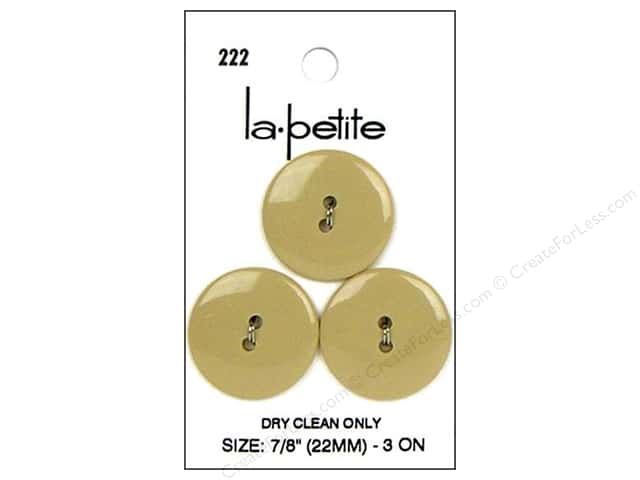 LaPetite 2 Hole Buttons 7/8 in. Tan #222 2pc.