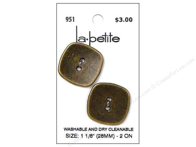 LaPetite 2 Hole Buttons 1 1/8 in. Antique Gold #951 2pc.