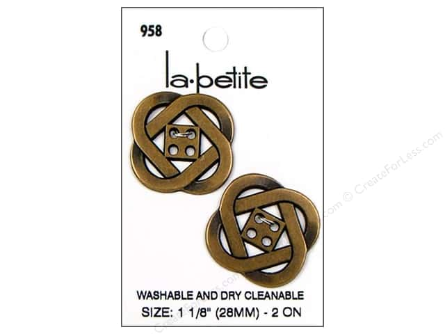 LaPetite 4 Hole Buttons 1 1/8 in. Antique Gold #958 2pc.