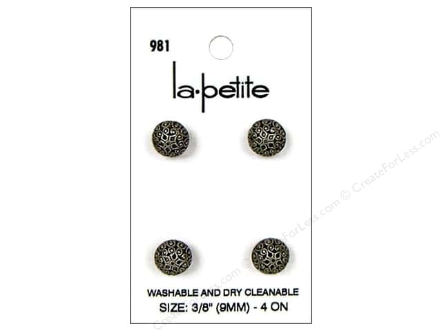LaPetite Shank Buttons 3/8 in.  Antique Silver #981 4pc