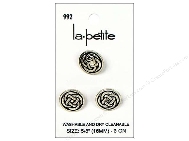 LaPetite Shank Buttons 5/8 in. Antique Silver #992 3pc.